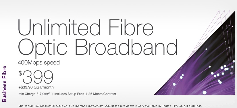 TPG Fibre Optic Broadband for Small Business with up to 400Mbps download and upload symmetrical speeds