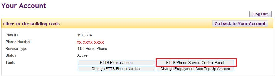 FTTB Phone service control panel link