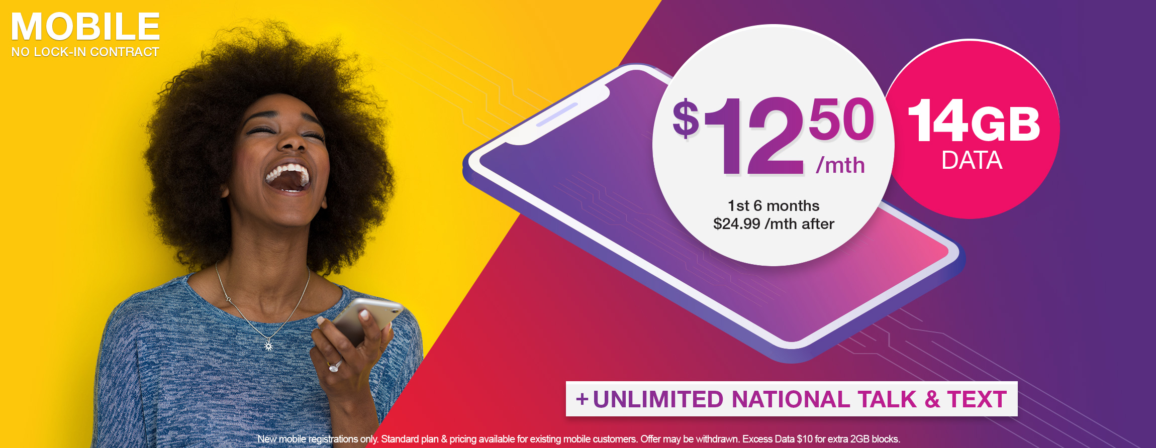 TPG no lock-in contract SIM only 4G mobile plan includes 14GB Data and Unlimited AU Talk & Text
